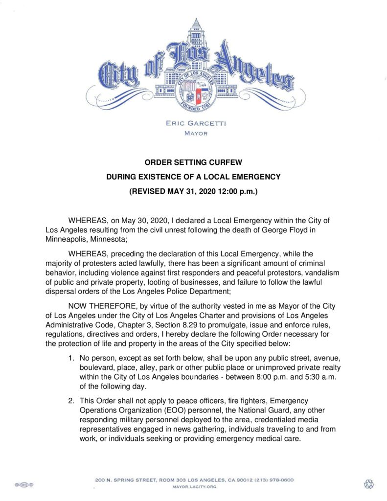 thumbnail of Mayor Order Curfew 05-31-20 REVISED